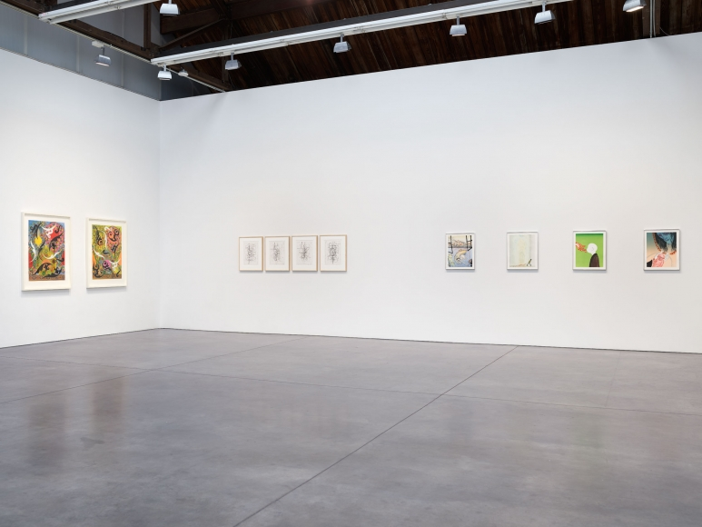 Prints and Editions  Installation view  January 25 – February 23, 2019  Luhring Augustine, New York  Pictured from left: Philip Taaffe, Christopher Wool, Sanya Kantarovsky