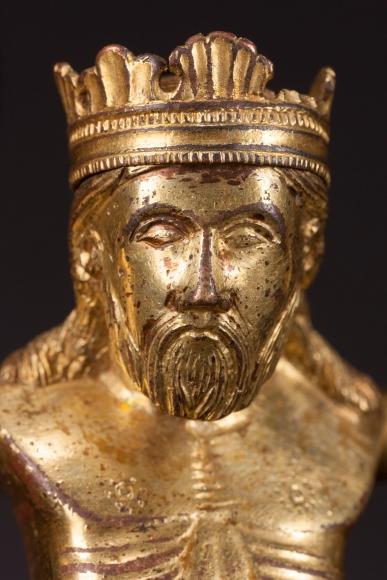 A gilded bronze corupus of Christ Triumphant (detail), Meuse Valley
