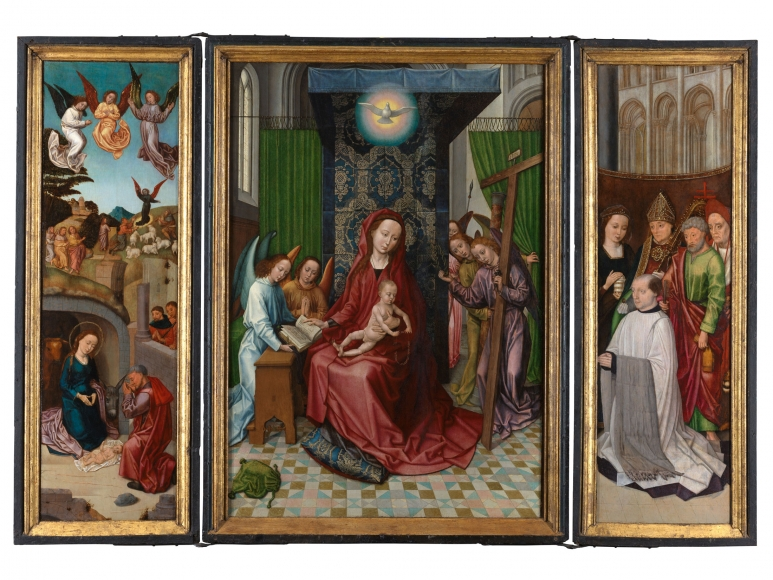 The Master of 1499 (Ghent or Brussels, fl. c. 1490-c. 1520), Triptych of the Virgin and Child, with the Nativity and a kneeling donor accompanied by standing saints