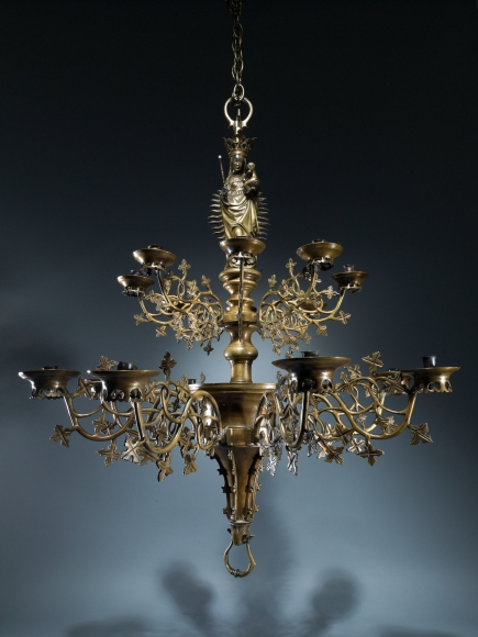 A two-tier chandelier with the Virgin and Child, Southern Netherlands
