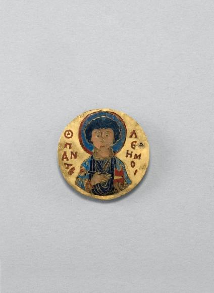 Cloisonné enamel medallion showing Saint Pantaleon, Constantinople