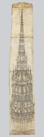 Roulland le Roux(active c. 1500-20) andPierre des Aubeaux(active 1511-23), A monumental drawing for the crossing tower of Rouen Cathedral, presented to the Cathedral Chapter on March 8th, 1516