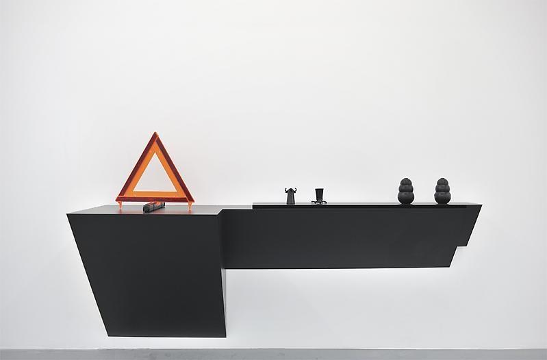 Haim Steinbach Untitled (emergency sign, shot glasses, dog chews), 2009