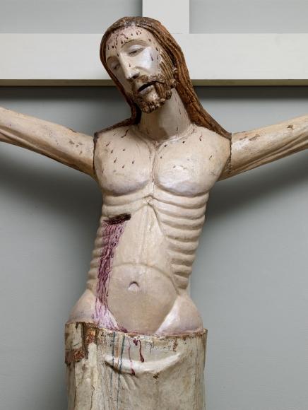 A life-sized polychromed corpus of Christ (detail), Aragón,North-eastern Spain