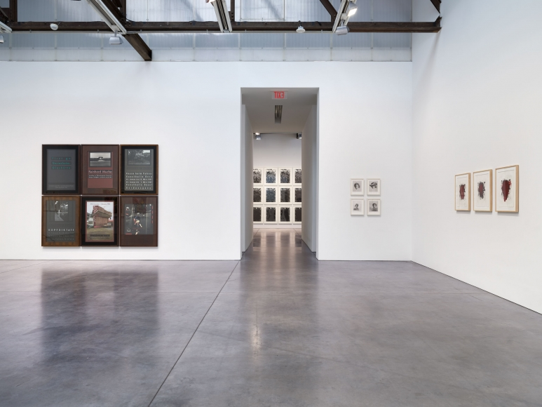 Prints and Editions  Installation view  January 25 – February 23, 2019  Luhring Augustine, New York  Pictured from left: Reinhard Mucha, Glenn Ligon, Yasumasa Morimura, Christopher Wool