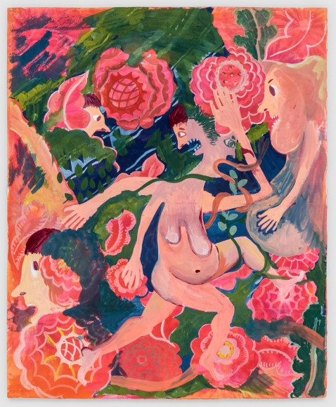 Christina Forrer Woman on Pink Floral Background, 2018