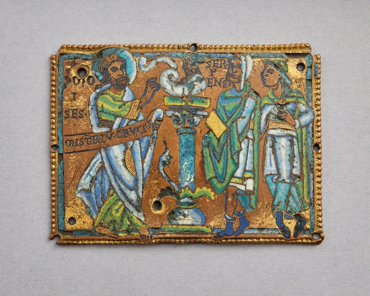 Moses and the Brazen Serpent, from a large typological cross, c. 1160