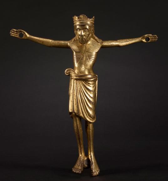A gilded bronze corpus of Christ Triumphant, c. 1200