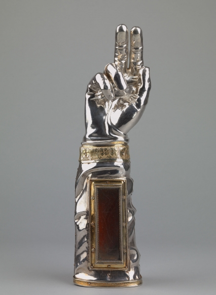 Jean Mamerot (acive Auxerre, 1535-after 1568), An arm reliquary of a bishop saint