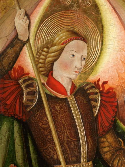 Maestro de los Florida(Juan de Bonilla? doc. 1442-78), Saint Michael Vanquishing the Devil(detail)