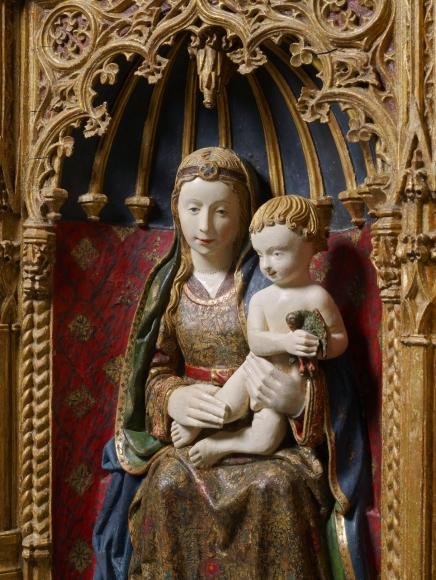 Workshop ofGil de Siloé(c. 1440-1501) andDiego de la Cruz(fl. 1482-1500), A gilded shrine showing the Virgin and Child (detail)