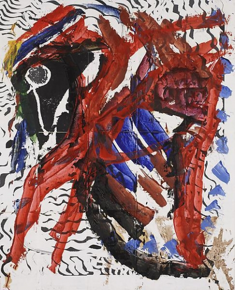 An image of an abstract painting in red, black, and blue tones.