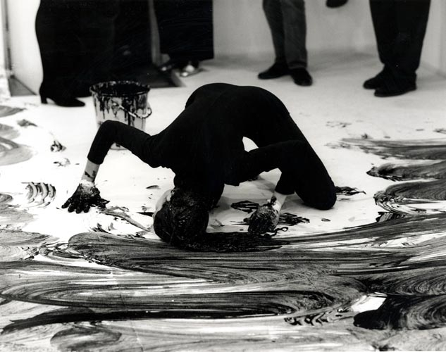 Performance with Loving Care Hair Dye Natural Black Photographed by Prudence Cumming Associates at Anthony d'Offay Gallery, London, 1993