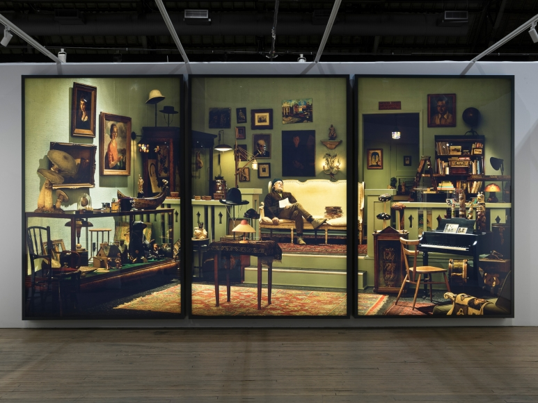Rodney Graham, Antiquarian Sleeping in his Shop, 2017, Installation view: ADAA The Art Show, 2017