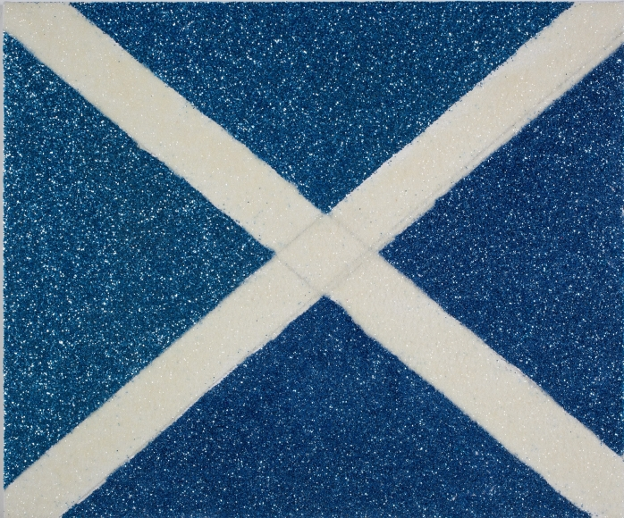 Karen Kilimnik, My Judith Leiber bag, the flag of Scotland, the Saltire cross of St. Andrew, 2012