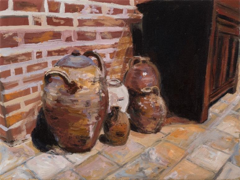Karen Kilimnik, Velasquez's potteryware in Leonardo Da Vinci's Dining Room, Amboise, 2015