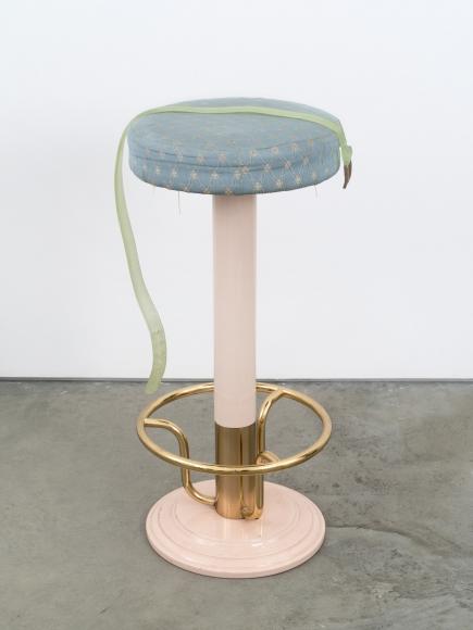 Valentin Carron, Belt on bar stool, 2014