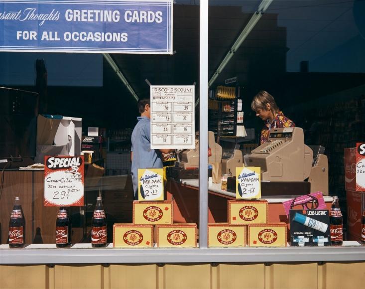 Stephen Shore, Disco-Discount Store, Cedar Street, Manistique, Michigan, July 9, 1973