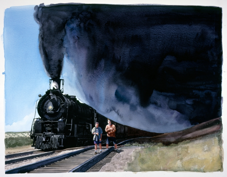 Tim Gardner, Untitled (Nick and Sto with Train) 1999