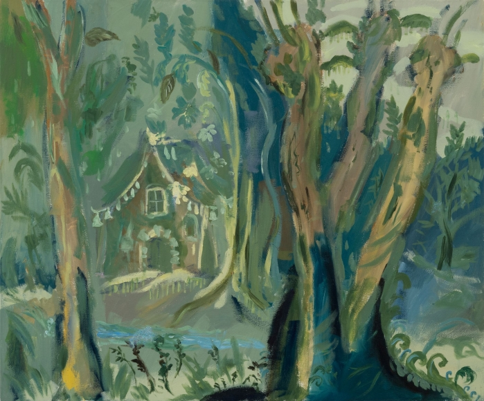 Karen Kilimnik, the green fairy cottage in the Vietnamese jungle, 2015