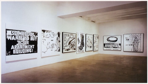 Andy warhol black white paintings 1985 86 van de weghe fine art october 14 november 23 2005 installation view