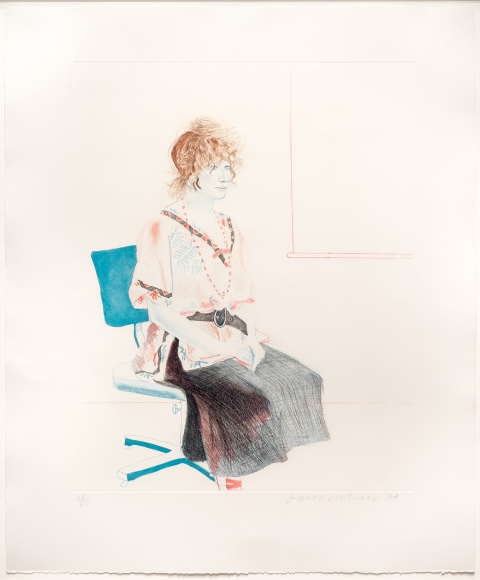 David Hockney, Celia Seated on an Office Chair, aquatint