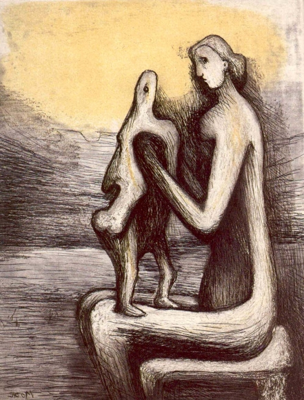 Henry Moore, Mother and Child IV, Etching