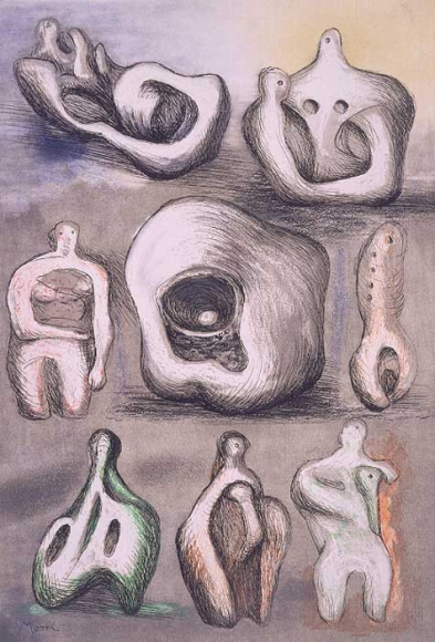 Henry Moore, EightSculpture Ideas, Etching aquatint