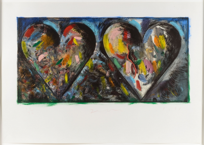 Jim Dine, Two Hearts for the Moment, lithograph, etching