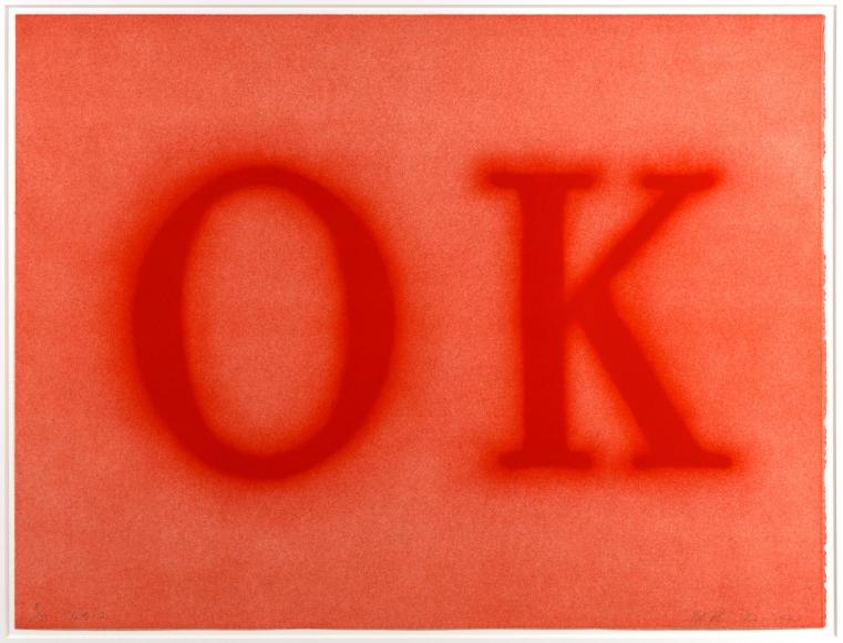 Ed Ruscha, OK (State II), Lithograph