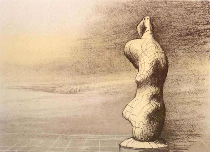 Henry Moore, Standing Figure Storm Sky, Lithograph
