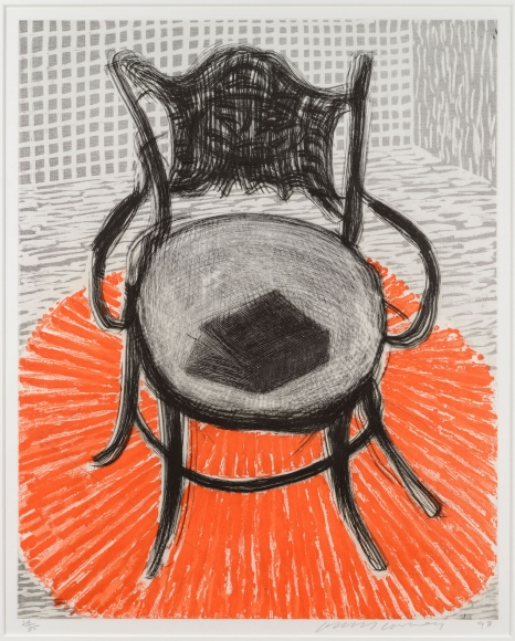 David Hockney, Chair with Book on Red Carpet, Etching and Aquatint