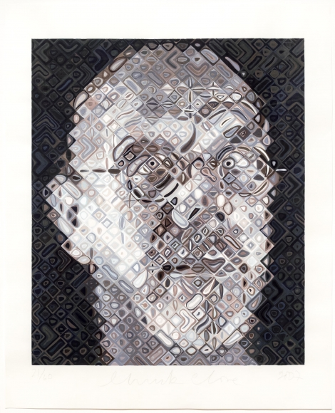 Chuck Close, Self-Portrait, Woodcut