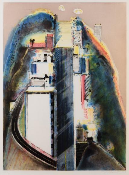 Wayne Thiebaud, Steep Street, Aquatint with Drypoint