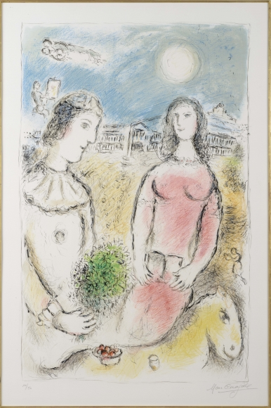 Marc Chagall, Couple at dusk, Lithograph