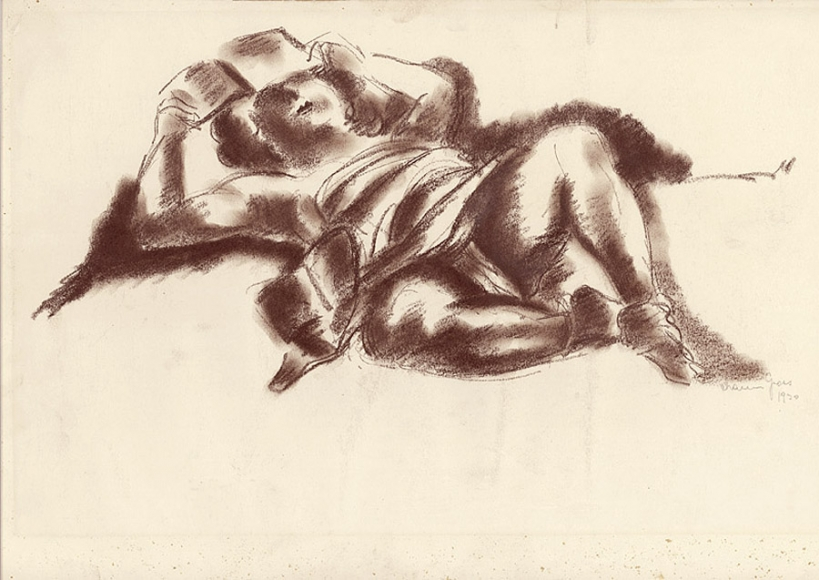Brown, pastel drawing of a partially covered nude woman reclining with a book raised so that it hides the top of her face to the viewer.