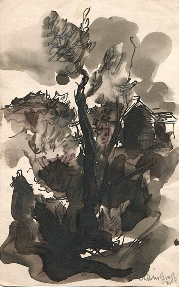 Ink drawing of a landscape, complete with a heavily shadowed tree in the center of the composition and the façade of a building behind it to the right.