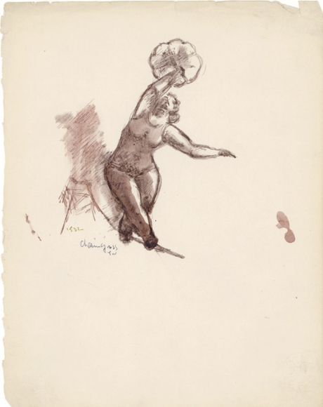 Charcoal sketch of two female figures crouching in an interlocked position. The figures are holding each other up and balancing.