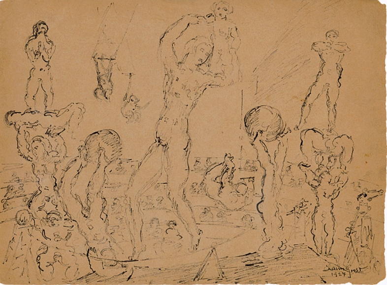Rough sketch of various circus performers, including acrobats and trapeze artists, performing in front of a crowd that is depicted in the background.