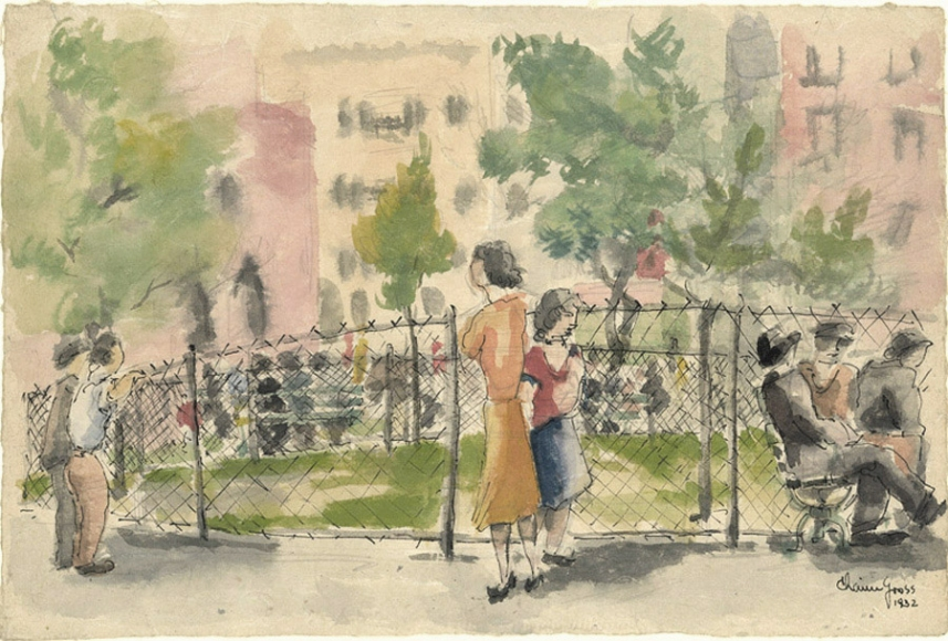 Ink and watercolor drawing of green park placed in front of a colorful cityscape. Surrounding the fence of the park are figures sitting and standing.