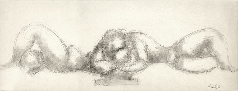 Sketch of two female figures laying down and embracing. A cross-hatching and smudging technique is used to create shadows.