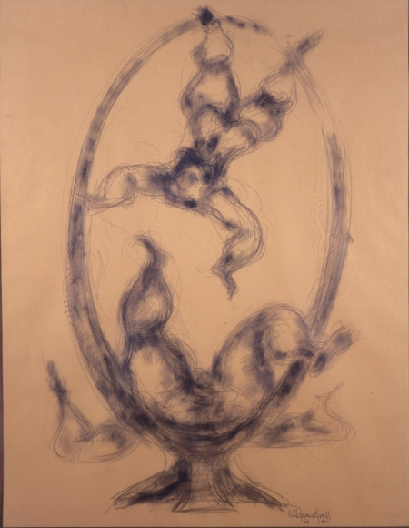 Two Performers in a Ring, c. 1960, Pencil on Paper, 26 x 20 inches