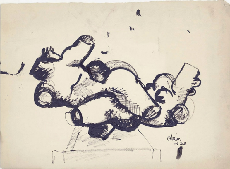 Two Interlocked Figures, 1928, Ink on Paper, 10 5/8 x 15 inches