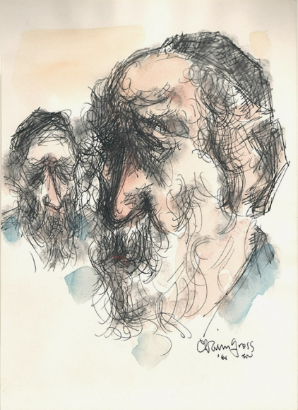 Ink and watercolor portrait of two bearded men, complete with black yarmulkes (skull caps) and blue shirts. The larger figure is positioned on the left while a more distant portrait sits in the back left of he composition.