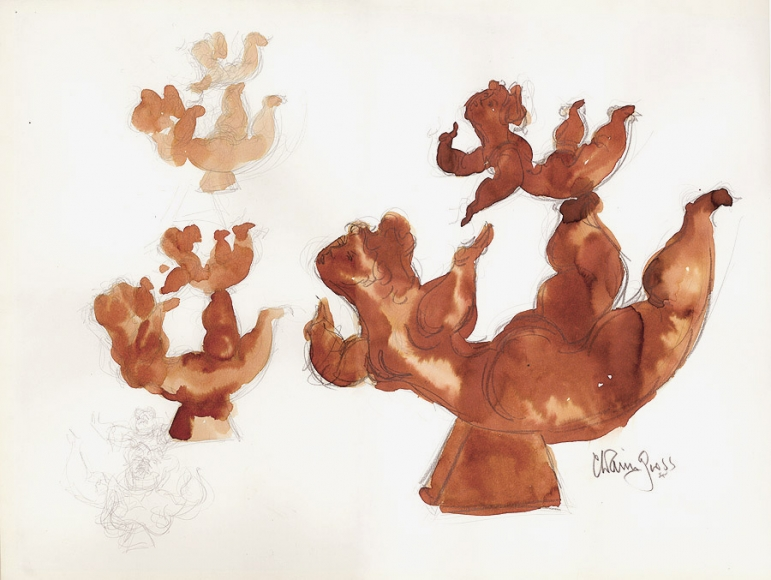 A drawing of two acrobat figures repeated three separate times, each varying in size. A small acrobat balances on the foot of another, lifting their legs and arms into the air. Each drawing is filled with red-brown watercolor.