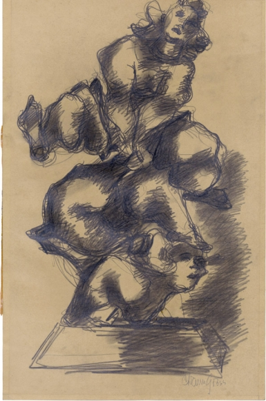 Dark-shaded drawing of two figures leaping over one another on a pedestal. The drawing is done with graphite on brown paper.