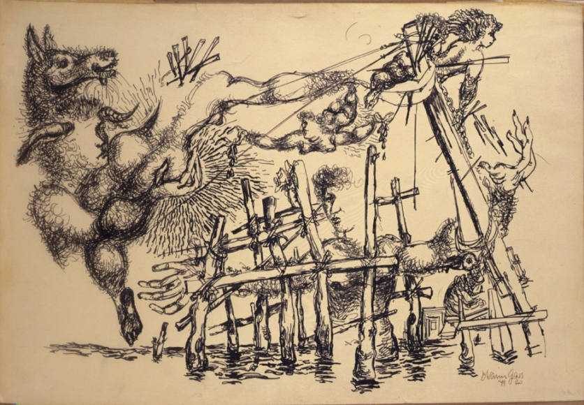An abstract, detailed drawing of a water scene with various wooden structures. Hands are drawn in the air around clouds. A horse and angels are depicted flying through the air.