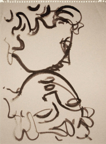 Ink drawing of two faces, the top face is shown in profile, facing the right, while the face below is shown upside down, with its chin meeting the chin of the portrait above.