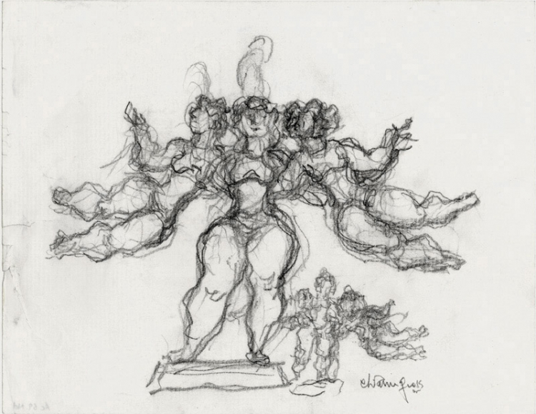 Three Performers, c. 1980, Pencil on Paper, 8 1/2 x 11 inches