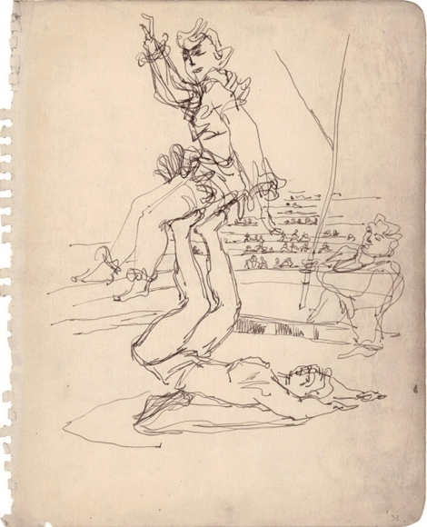 Line drawing of two acrobatic performers in front of a crowd. The drawing seems to have been completed in one continuous stroke.